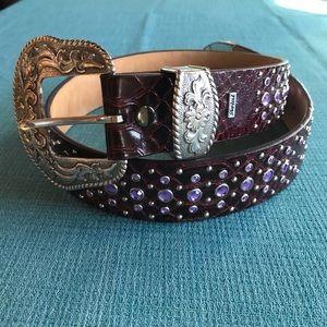 Ariat purple studded belt